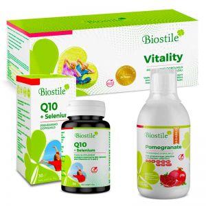 Biostile Muskelstärkungspaket- Vitality + Q10  Selenium + Pomegranate - Granatapfel